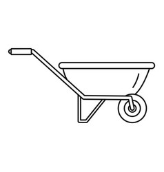 one wheel barrow icon outline style vector image