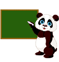 Panda writing on blackboard vector