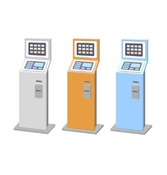 Payment terminals set isolated stationary kiosk vector image