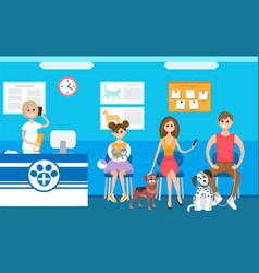 Pets clinic veterinary receptionist and queue vector