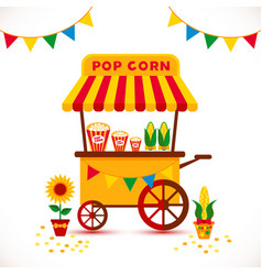 popcorn cart carnival store and festival popcorn vector image