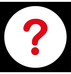 Question flat red and white colors round button vector