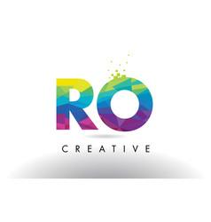 Ro r o colorful letter origami triangles design vector