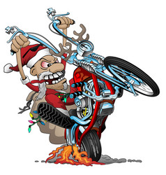 santa biker on an american style chopper motorcycl vector image