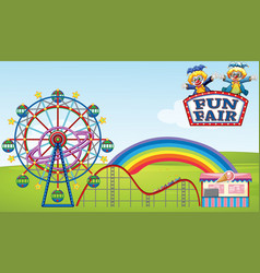 Scene with ferris wheel and roller coaster in the vector