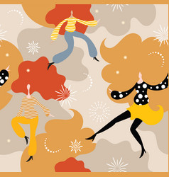 seamless background with dancing women vector image