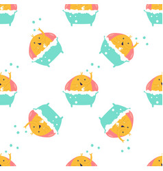 seamless pattern with cute little elephants vector image