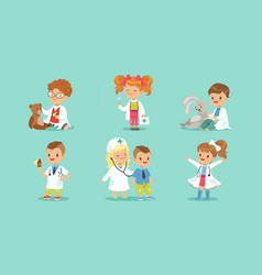 Set cute kids playing doctors cheerful little vector