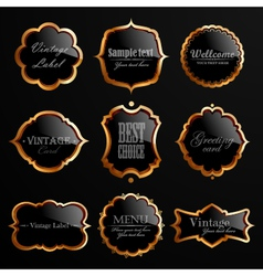 Set of black gold labels vector image
