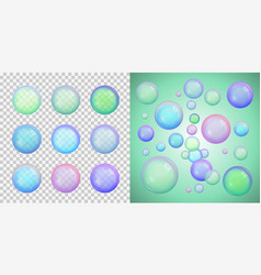 set of colorful soap bubbles with different colors vector image