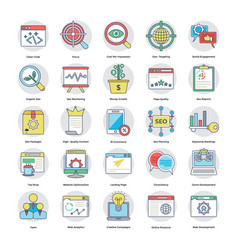 Set of digital and internet marketing flat vector