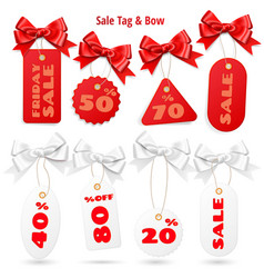 Set of white and red sale price tags and lables vector