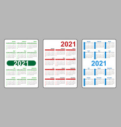 Set vertical pocket calendar on 2021 year week vector