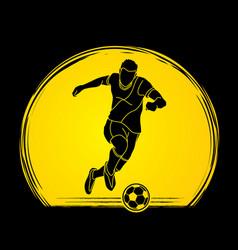 Soccer player running and kicking a ball vector