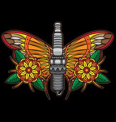 Spark plug flash tattoo vector