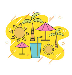 summer with linear icons and signs travel vector image