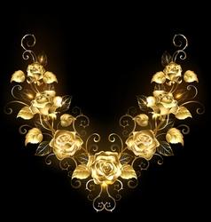 symmetrical pattern golden roses vector image