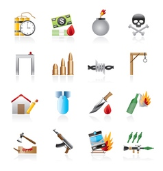 Terrorism and gangster equipment icons vector