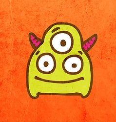 Three Eyed Alien Cartoon vector image