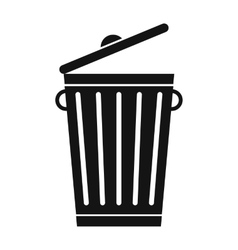 Trash can black simple icon vector
