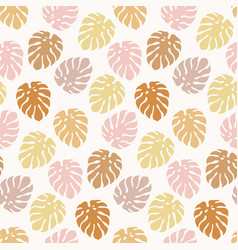 Trendy seamless pattern with monstera leaves vector