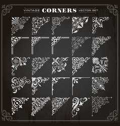 Vintage design elements corners and borders set 1 vector