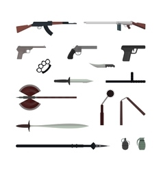 Weapons flat collection isolated on white vector image