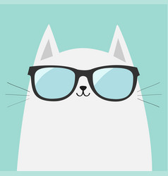 White cat wearing sunglasses eyeglasses shining vector