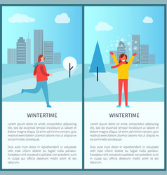 Wintertime activities in park vector
