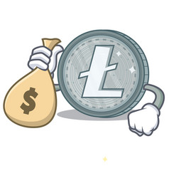 with money bag litecoin character cartoon style vector image