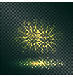 Yellow explosion of pyrotechnics on transparent vector