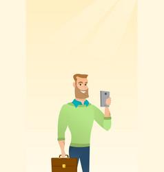 Young caucasian businessman making selfie vector