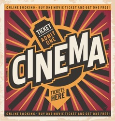 Cinema vintage poster design vector image vector image