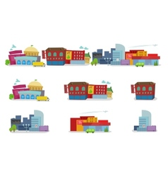 City cartoon architecture of buildings houses vector image