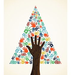 Diversity Christmas pine Tree hands vector image vector image