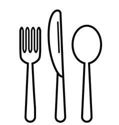 KnifeFork and Tablespoon Black vector image vector image