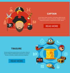 pirate treasure cartoon banners vector image vector image