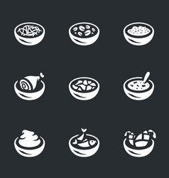 set of food plate icons vector image vector image
