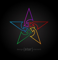 Abstract rainbow star design element made of thin vector image vector image