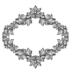 Baroque ornamental antique silver frame on white vector