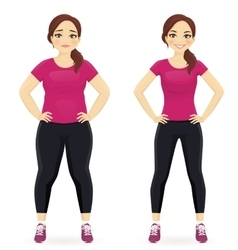 Before and after diet woman vector image