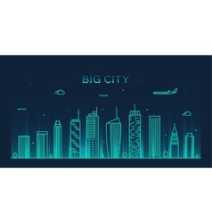 Big city skyline Trendy linear vector image vector image