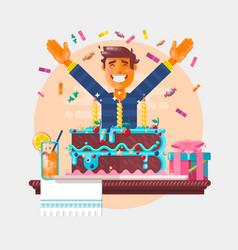 boy with birthday cupcake children s birthday vector image