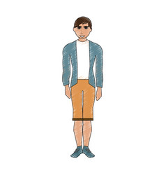 Color pencil cartoon full body man with shorts and vector