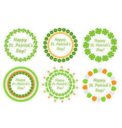 st patrick s day round frame with clover vector image