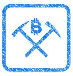 Bitcoin mining hammers framed stamp vector