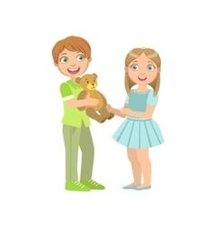 Boy Presenting A Teddy Bear To Girl vector image vector image