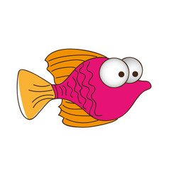 color silhouette of small fish with big eyes vector image vector image