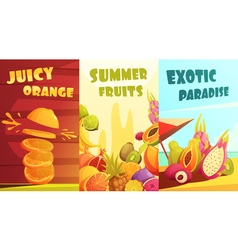 Exotic Fruits Vertical Banners Cartoon Poster vector image vector image