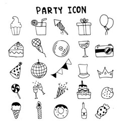 hand drawn doodle party icons set cerebrate vector image vector image